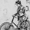 drawing of woman in pants with a bicycle