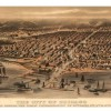 """Birdseye illustration showing Chicago harbor in foregroundCaption reads:"""" City of Chicago as it was before the Great Conflageration of Oct. 8th,9th, 10th ,1871."""