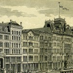 State Street south of Randolph Street in 1879. Field, Leiter & Co. is at the end of the block