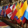 Row of flags from Latin American countries