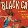 Black Cat Comics cover superhero in black cat suit drops in on gangsters gambling