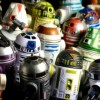 Several small robots from Star Wars