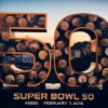 Super Bowl 50, February 7, 2016 sign with San Francisco in the background