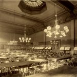 Reading room of Chicago Public Library Central Library (currently the Chicago Cultural Center), circa 1893-1920. Source: Chicago Public Library Archives, photograph by Hesler's Photo Studio.