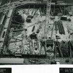 Aerial shot of construction site, 1989 April 27. Source: Chicago Public Library Archives. Harold Washington Library Center Construction Photographs. Peter Fish Studio, Chicago.