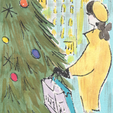 Illustration of woman with shopping bags next to Christmas tree