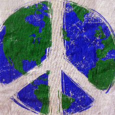 Illustration of Earth with peace symbol