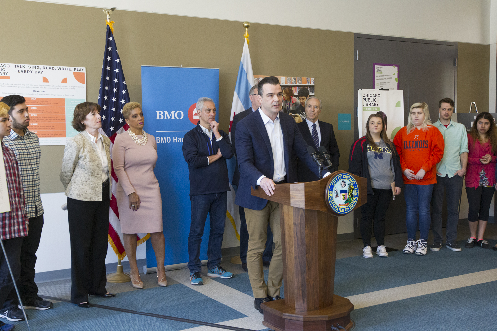 Mayor Emanuel Chicago Public Library Announce New Public and