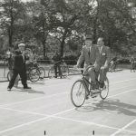 Mayor Richard J. Daley attends the opening of the bike program, Ogden Park, 1956. Source: Chicago Public Library, Special Collections, Chicago Park District Records: Photographs, Box 86, Folder 6.