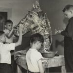 Four boys work on a grotesque horse head. Source: Special Collections, Chicago Park District Records: Photographs, Image 051_009_001